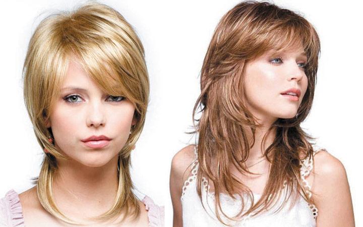 Прически на средние волосы на один бок с челкой 15