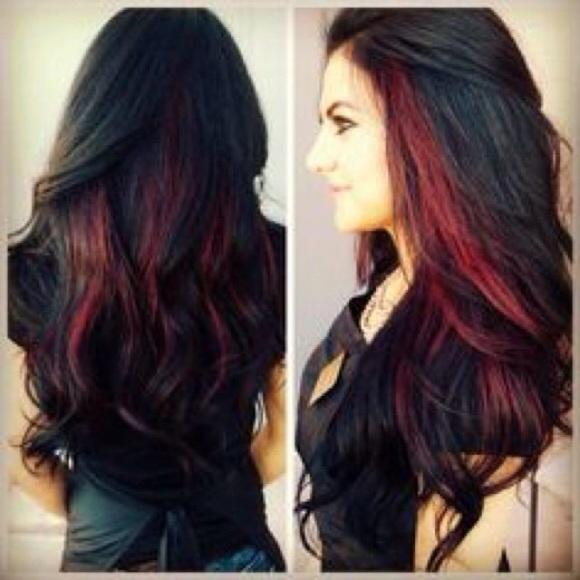 Красное омбре на черных волосах 21 фото Для Роста Волос
