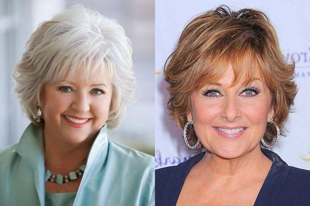 Прически на короткие волосы для женщин 60 лет фото для полных