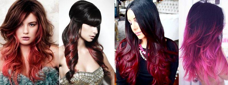 Красное омбре на черных волосах (21 фото)