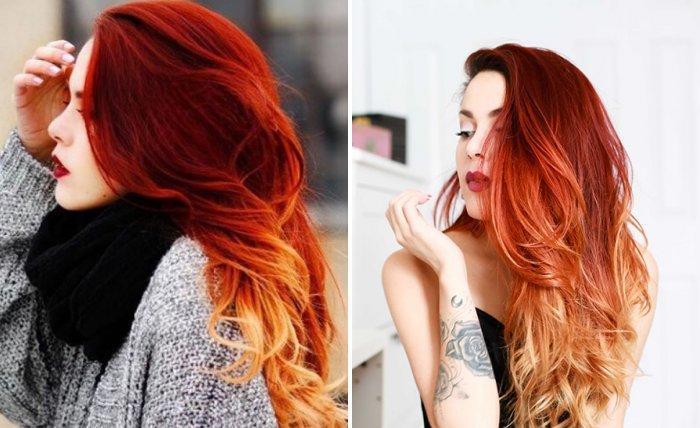 Окрашивание балаяж на рыжих волосах (35 фото)