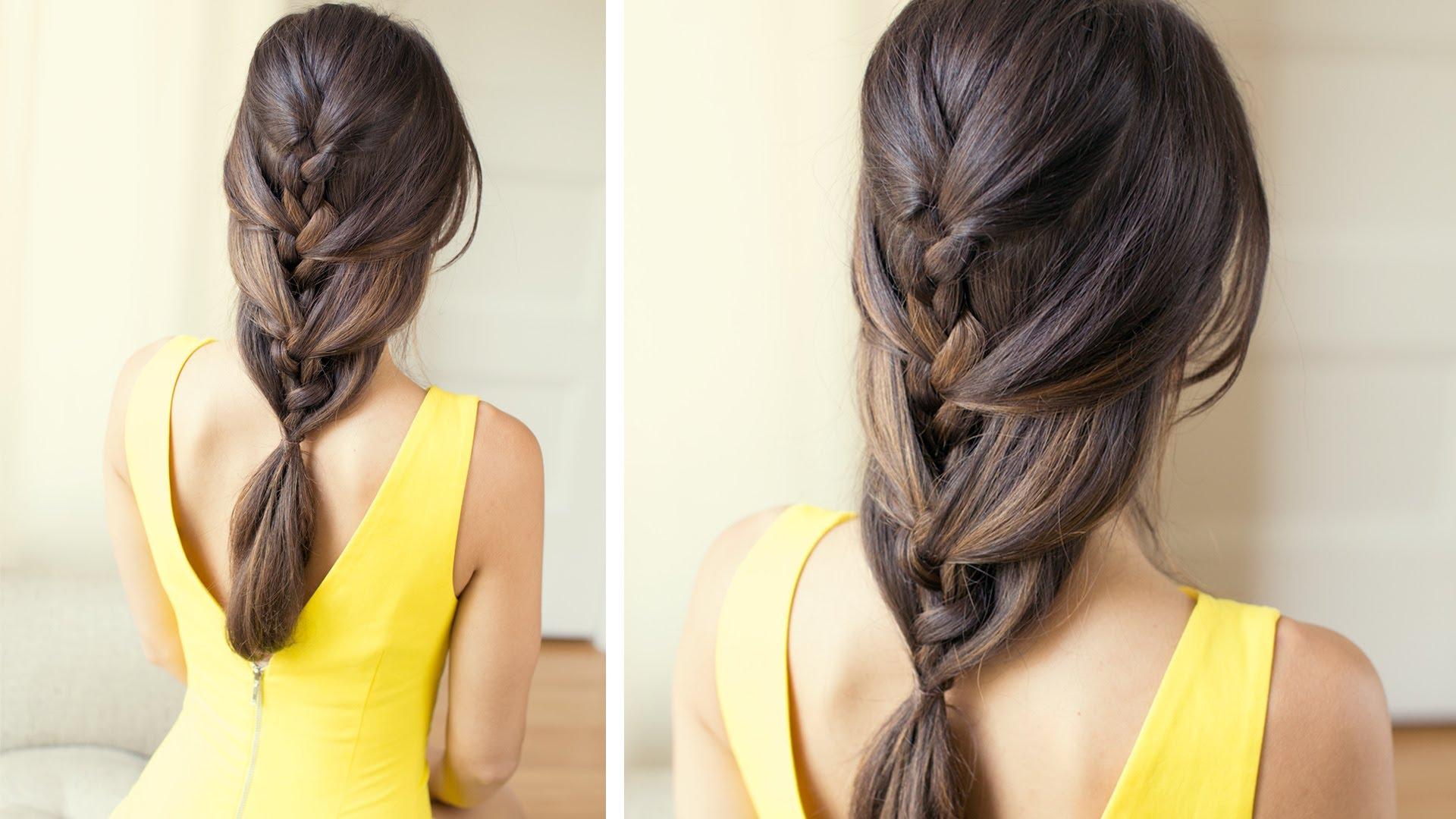 Как сделать косичку одну за волосами 895