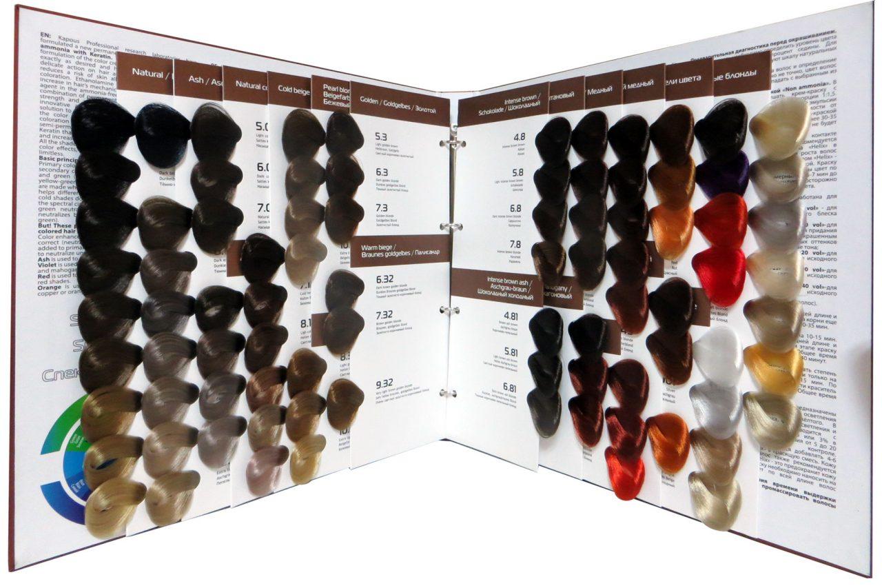Профессиональная палитра краски для волос «Капус»