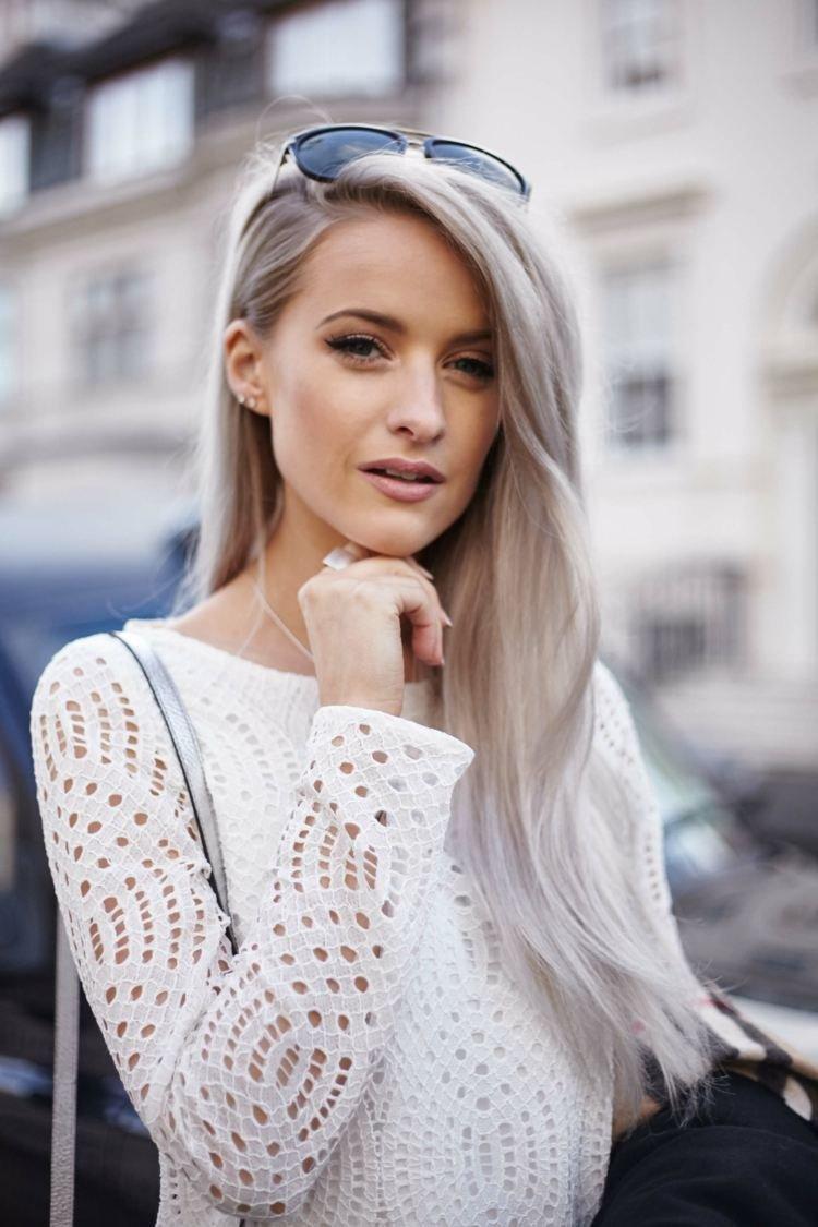 Седой цвет волос в моде 2018 фото