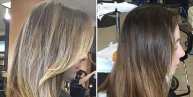 Балаяж на темные волосы: фото до и после (30 фото)