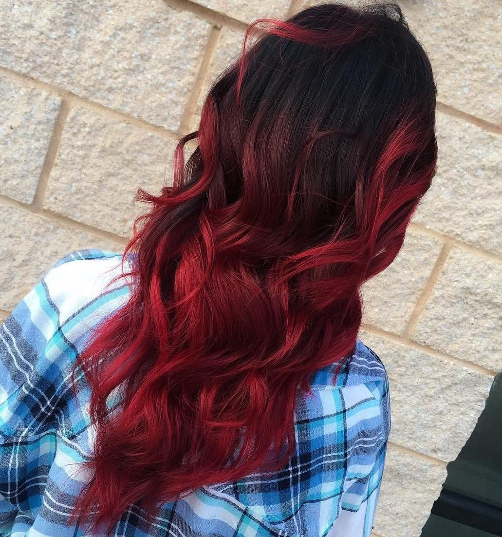black and red hair color styles бордовые пряди на темных волосах 30 фото для роста волос 9070 | stunning best ombre hair color ideas for blond brown red and black pics of blonde trend styles TFAST 14824