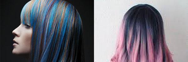 Цветные пряди на темных волосах (35 фото)
