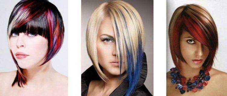 Цветные пряди на темных волосах: 36 фото идей для коротких