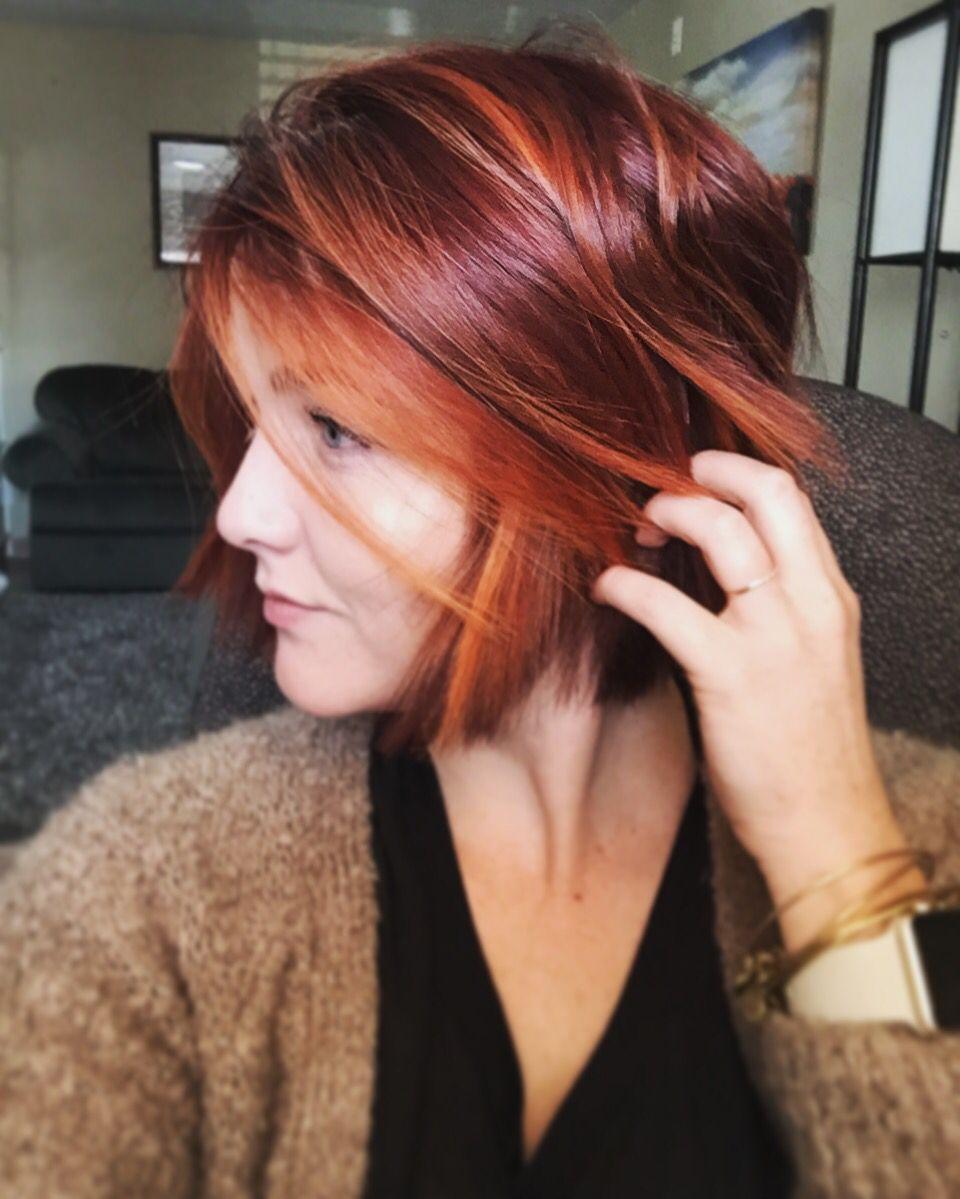 Омбре на рыжие волосы с каре (20 фото)