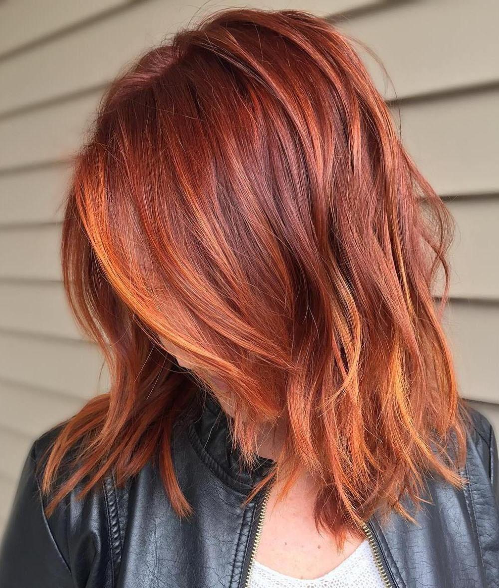 Омбре на красные волосы каре