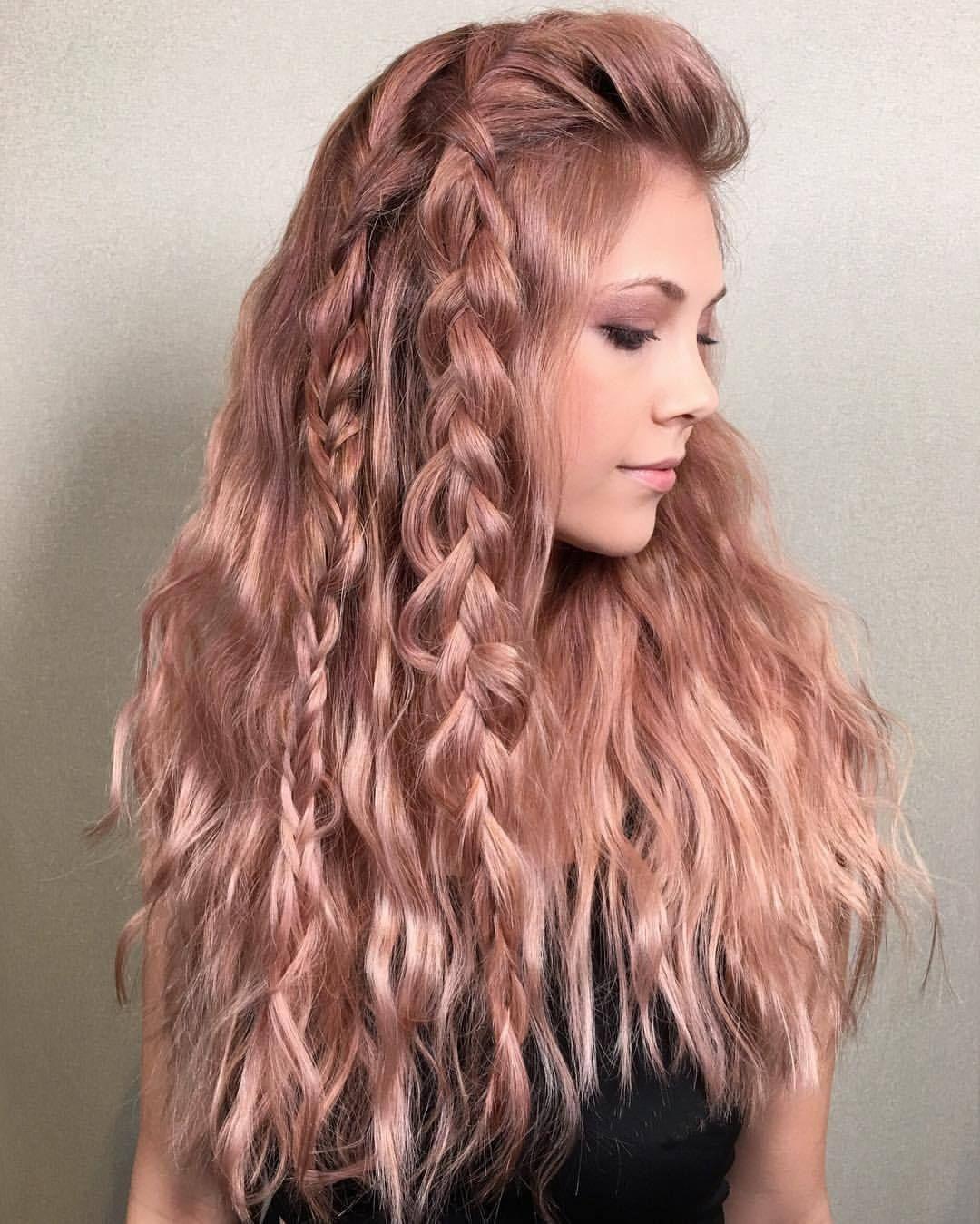 Розовое золото волосы фото