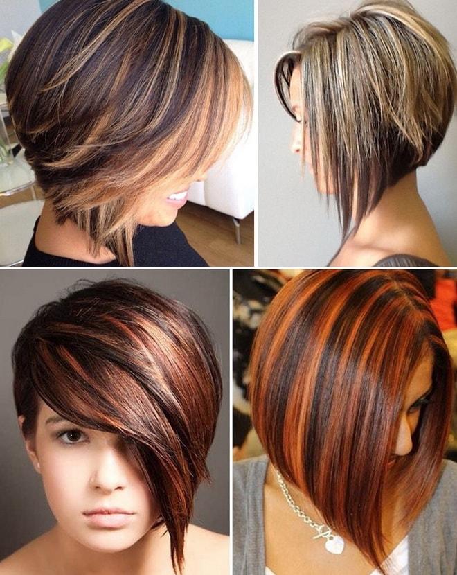Мелирование коротких каштановых волос