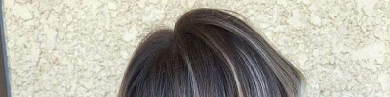 Серый цвет волос с мелированием (30 фото)